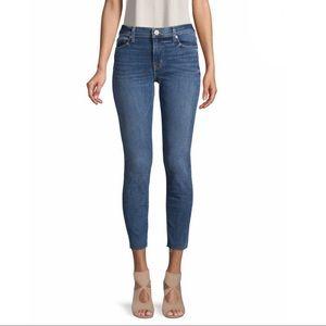 Hudson Natalie Raw-Edge Mid-Rise Ankle Skinny Jean